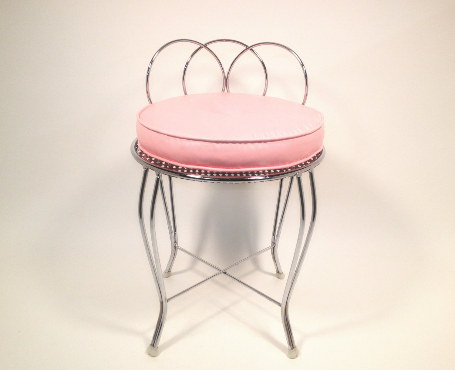 Mid Century Metal Vanity Chair With Pink Cushion By