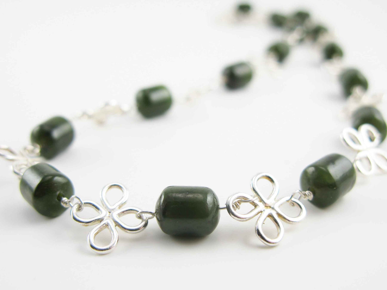 On Vacation NONA: Reproduction Roman Necklace - sterling silver flowers and Nephrite Jade - assembled by hand - mejjewelry