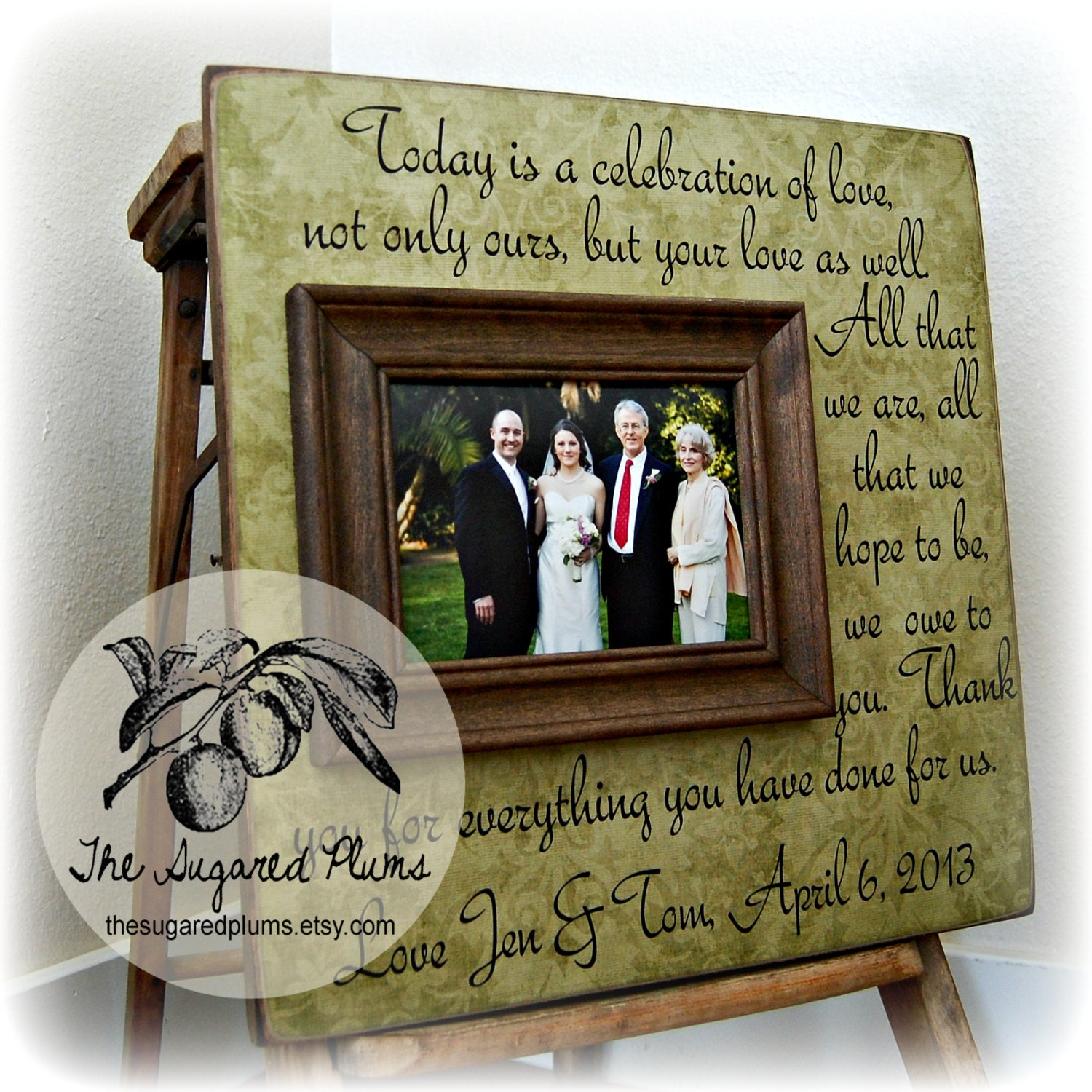 Wedding Day Gift For Parents : PARENTS THANK YOU Wedding Frame Today Is A by thesugaredplums