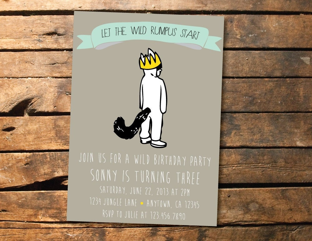 the wild things are birthday party or baby shower printable invitation