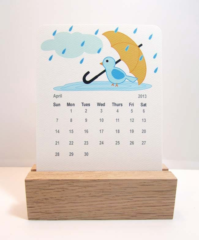 Calendar Wood Stand : Desk calendar freestanding wood stand blue birds by