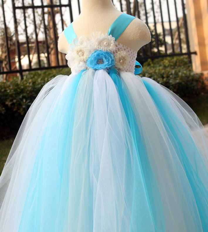 Flower girl dress turquoise grey white tutu by for White and turquoise wedding dresses