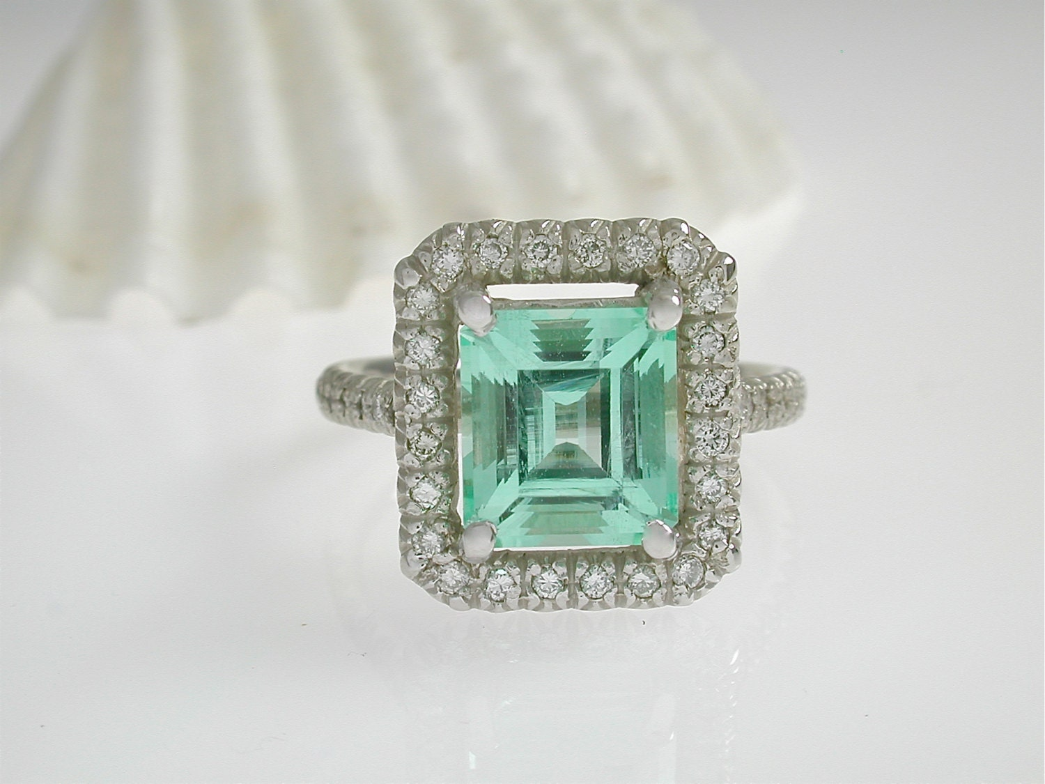 emerald halo ring stunning mint green by jewelluxe