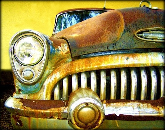 Vintage Dreams - Rusty Old Car Artwork photography 11x14 Print Head Light Yellow Brown Blues - awpphotography
