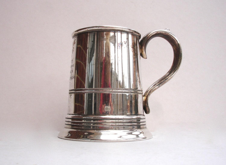 1934 Half Pint Silver Plated Tankard Vintage Trophy Antique Sport Yachting Trophy Australia Yachting RSYS 19345 JR Palmer Brand V FXR