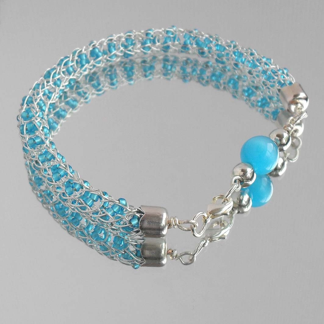viking knit rope seed bead bracelet sky blue silver by
