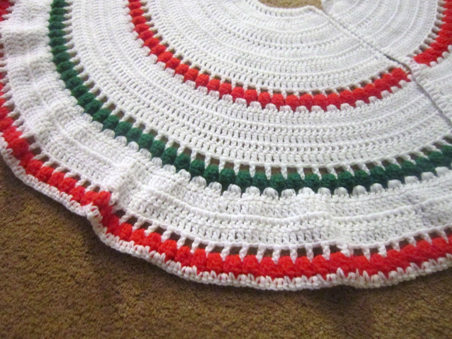 Crochet Xmas Tree Skirt : Round Crochet Christmas Tree Skirt by crochetedbycharlene on Etsy