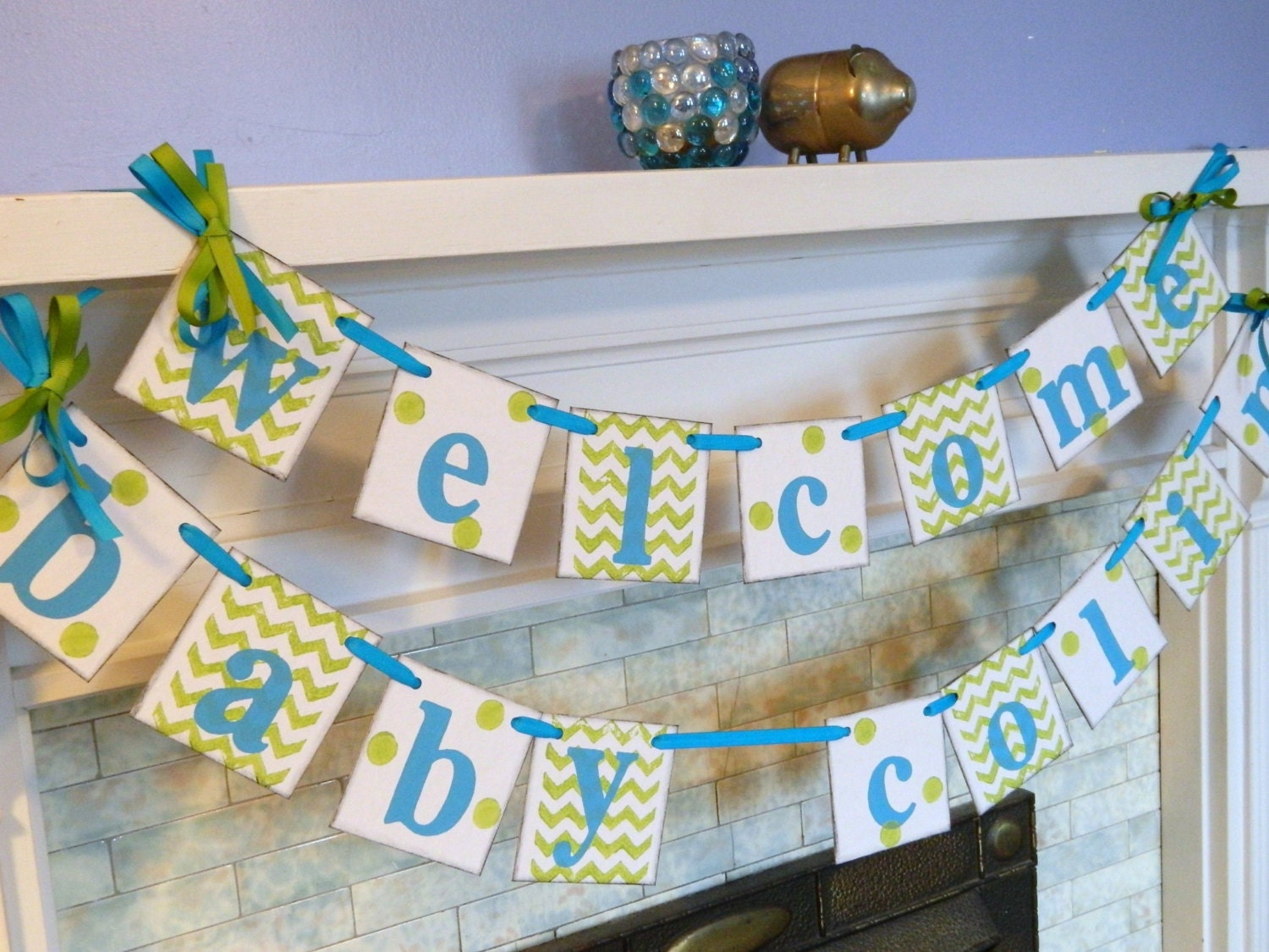 Baby shower decor chevron stripes and dots by anyoccasionbanners - Baby shower chevron decorations ...