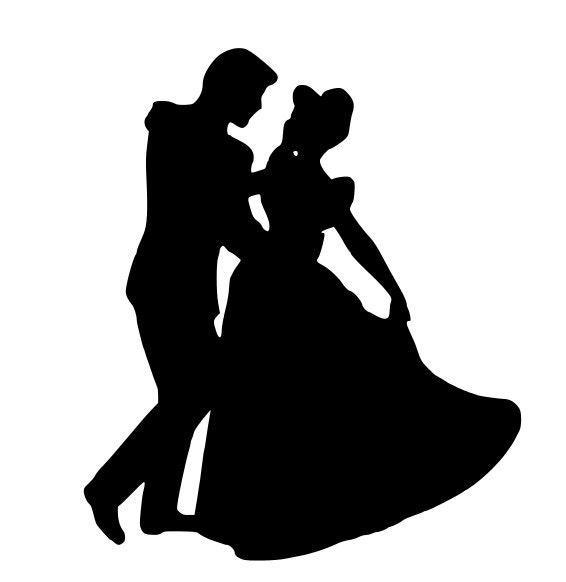 Cinderella and Prince Charming Silhouette DecalPrintable Cinderella Silhouette