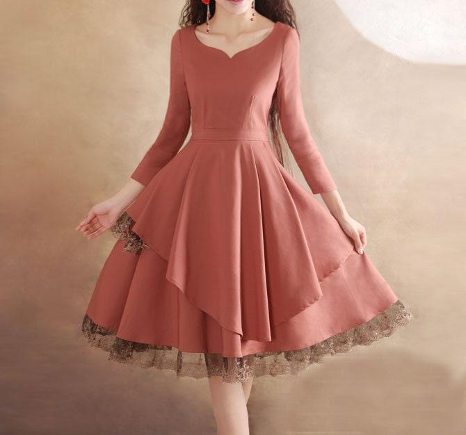 Pink lace dress wedding dress party dress women dress fashion dress