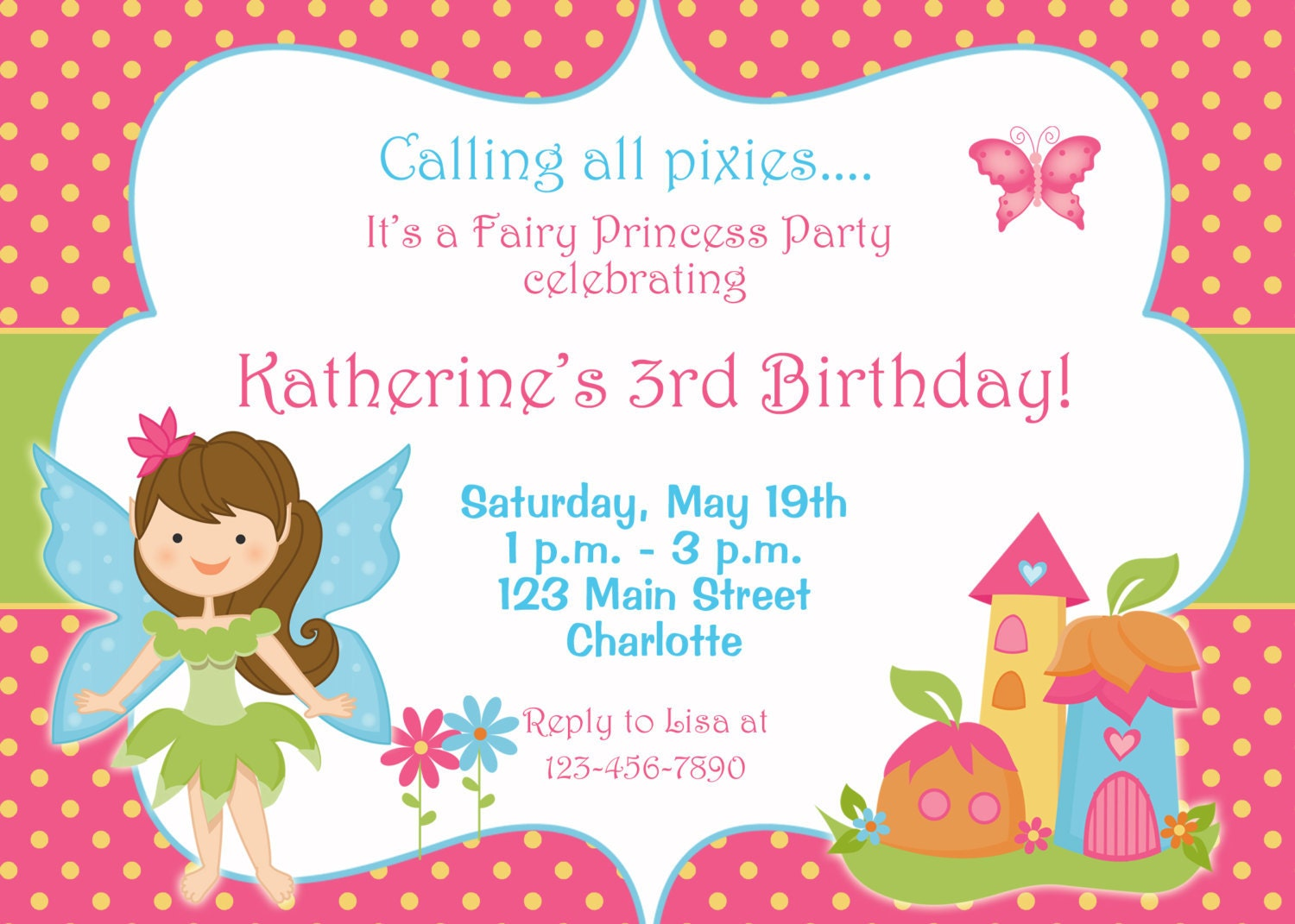 fairy princess party birthday invitation fairy pixie birthday