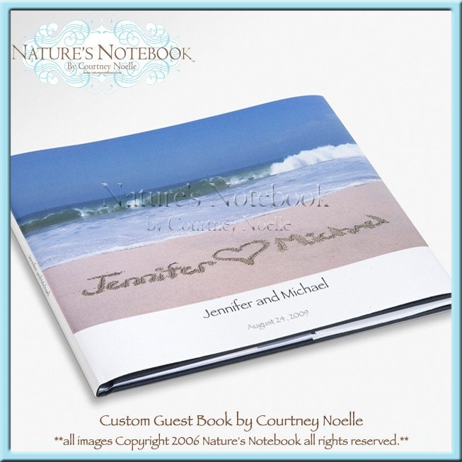 beach themed personalized wedding guest book with your names written