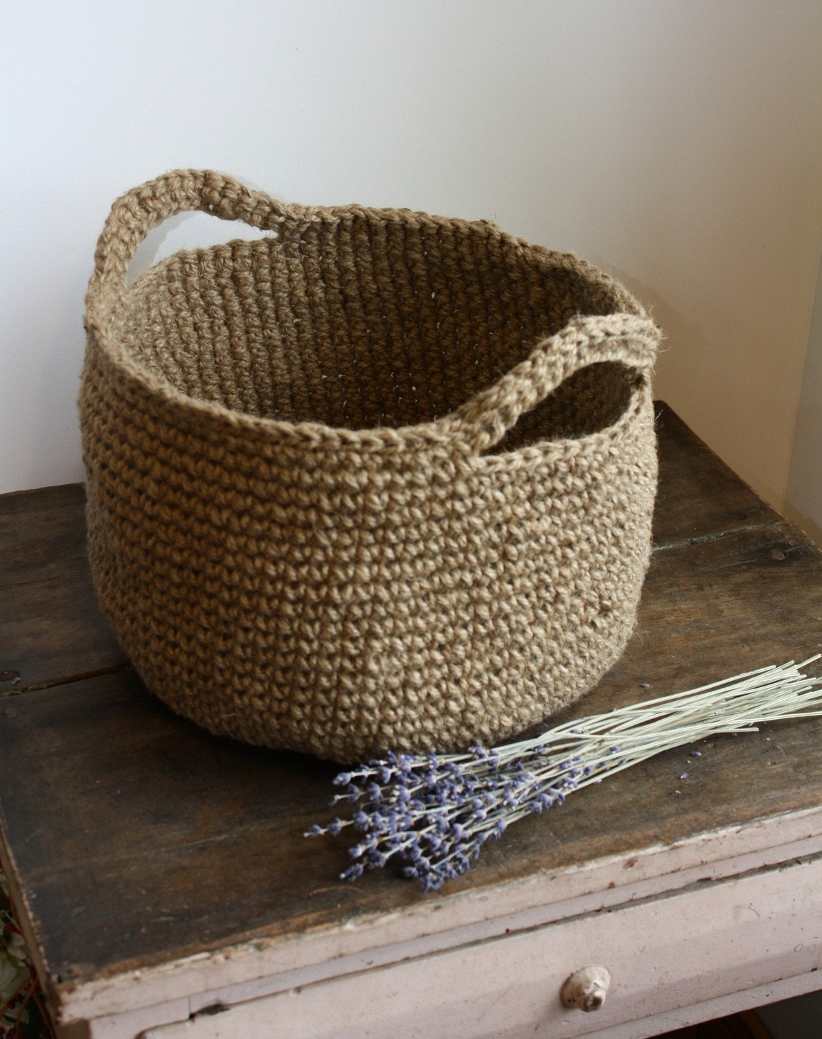 Items similar to Large Jute Basket With Handles on Etsy