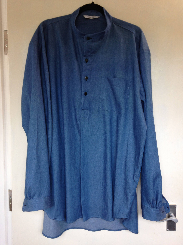 XXL chambrey shirt in midblue grandad collar short front opening dark horn buttons generous cut