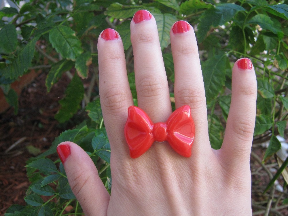Classic Red Bow Ring by PinkFrog4U on Etsy from etsy.com