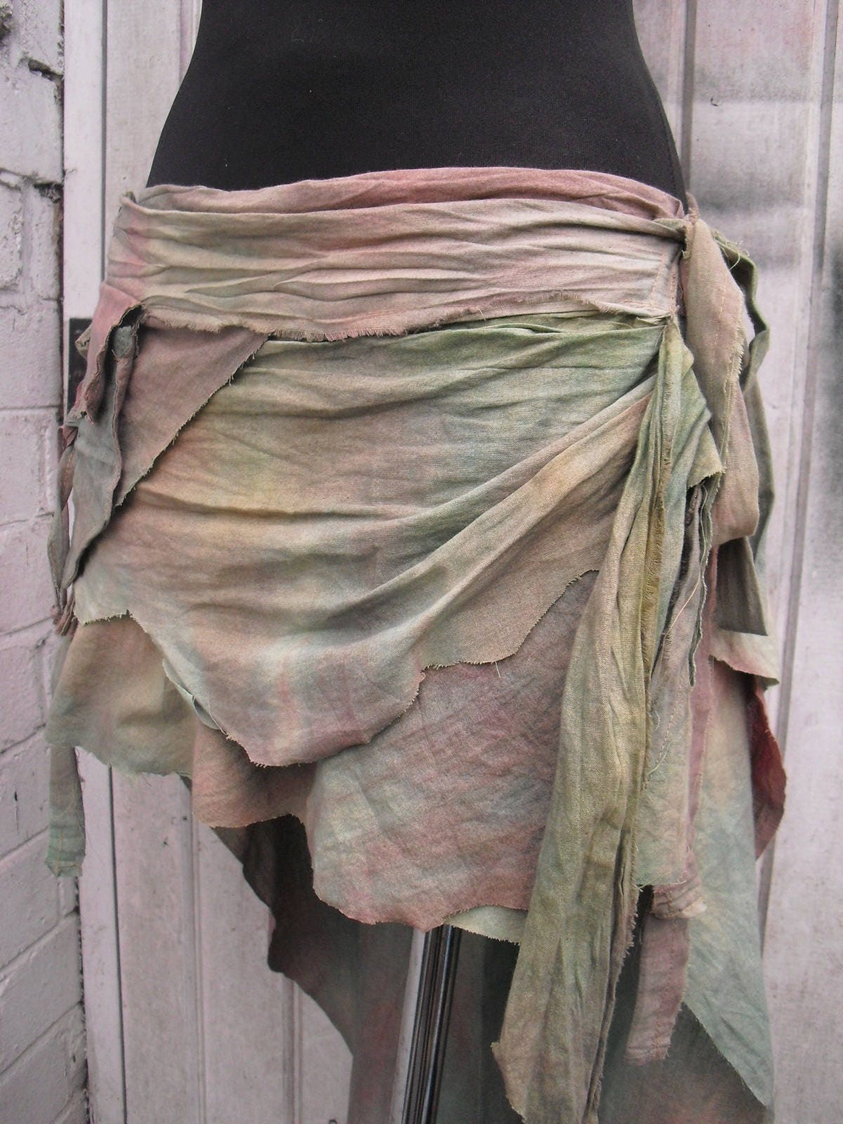 Tie dye pale green red Tattered skirt low high Nymphs Pixie skirt Fairy Woodland cotton skirt OOAK one size 74100cm