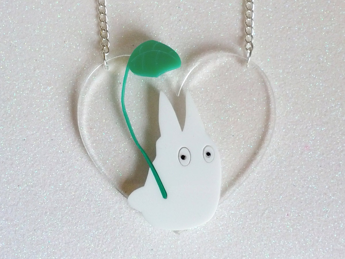 Chibi Totoro Necklace: CHIBI TOTORO White Laser Cut Acrylic Necklace