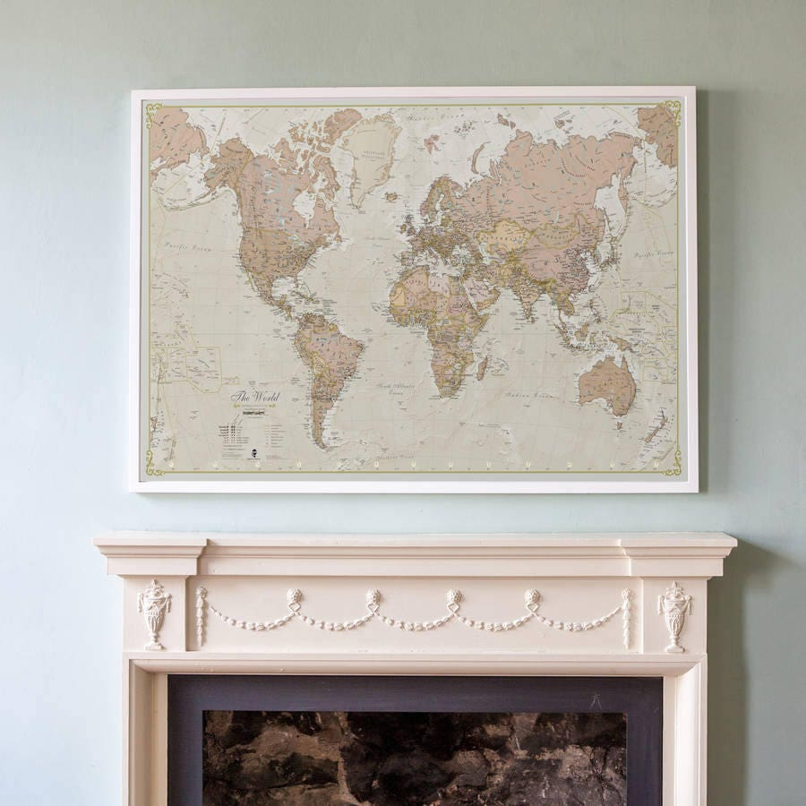 Antique World Map  vintage map home decor bedroom living room world map wall map gift for him gift for her antique free shipping