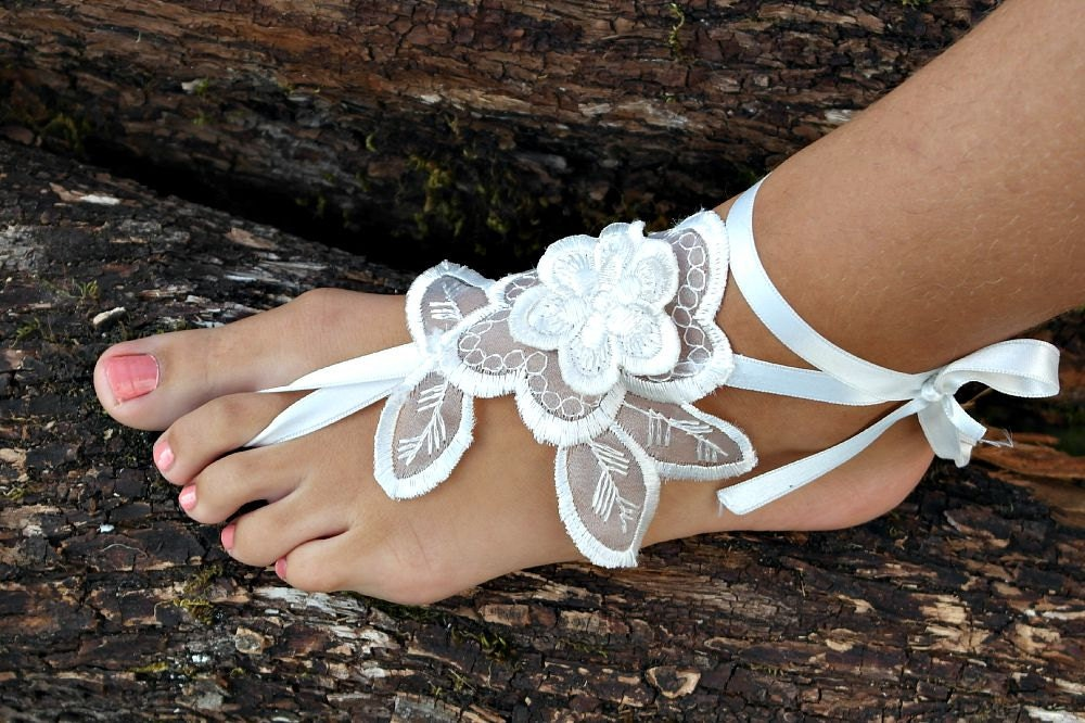 Beach Wedding Barefoot Sandals Anklet Wedding Shoes Summer Shoes Ivory Barefoot Sandals Foot Jewelry Bridesmaid gift