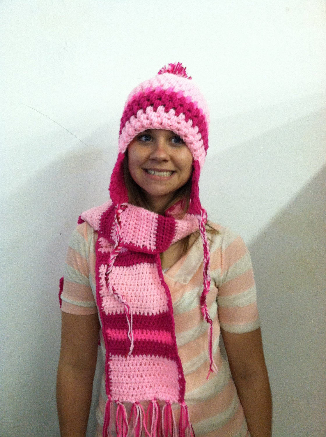 pretty in pink crochet hat and scarf set by Lovelyfindsforyou Crochet Scarves And Hats