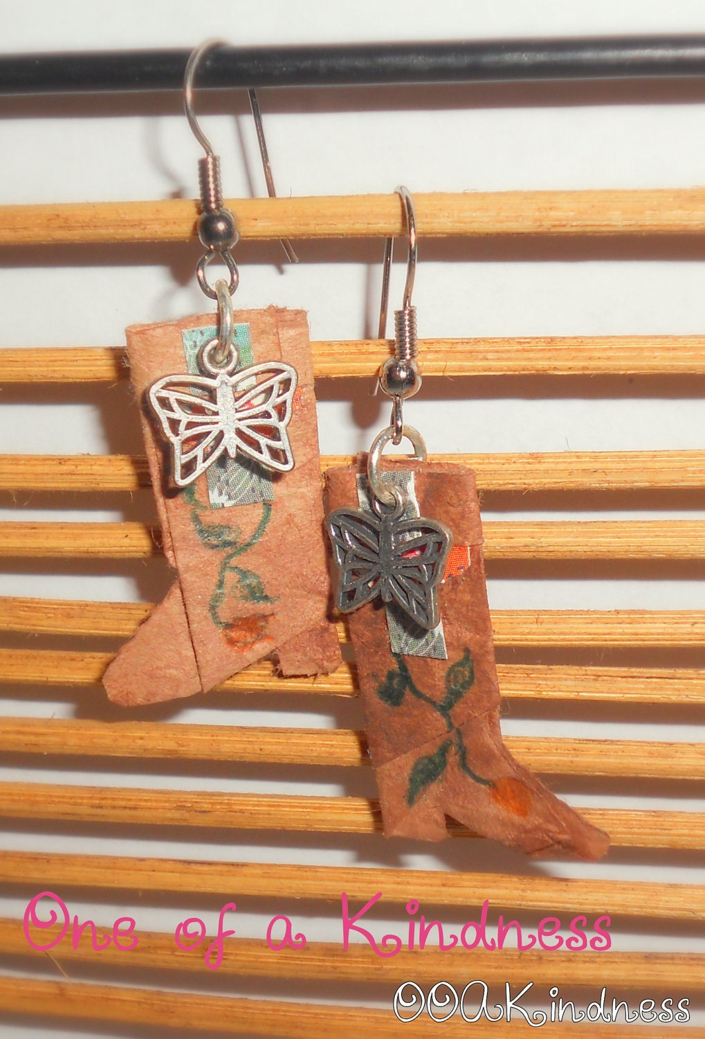 Unique Origami Cowboy Boot Earrings with butterfly charms, cut paper & hand drawn details