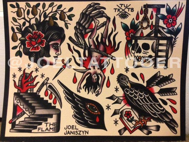 Esoteric Occult Tattoo Flash Print by JoelJaniszynHandmade ...
