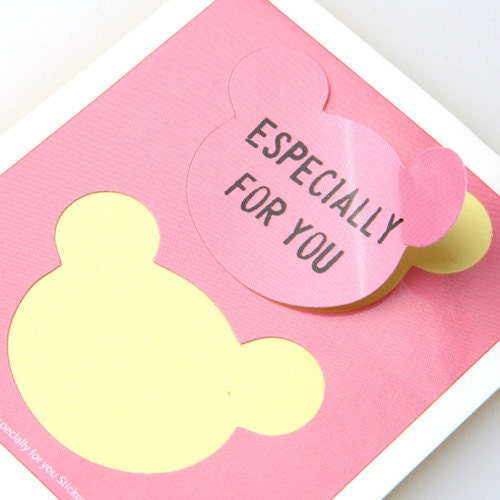 ESPECIALLY FOR YOU Pink Bear message sticker, 5sheet