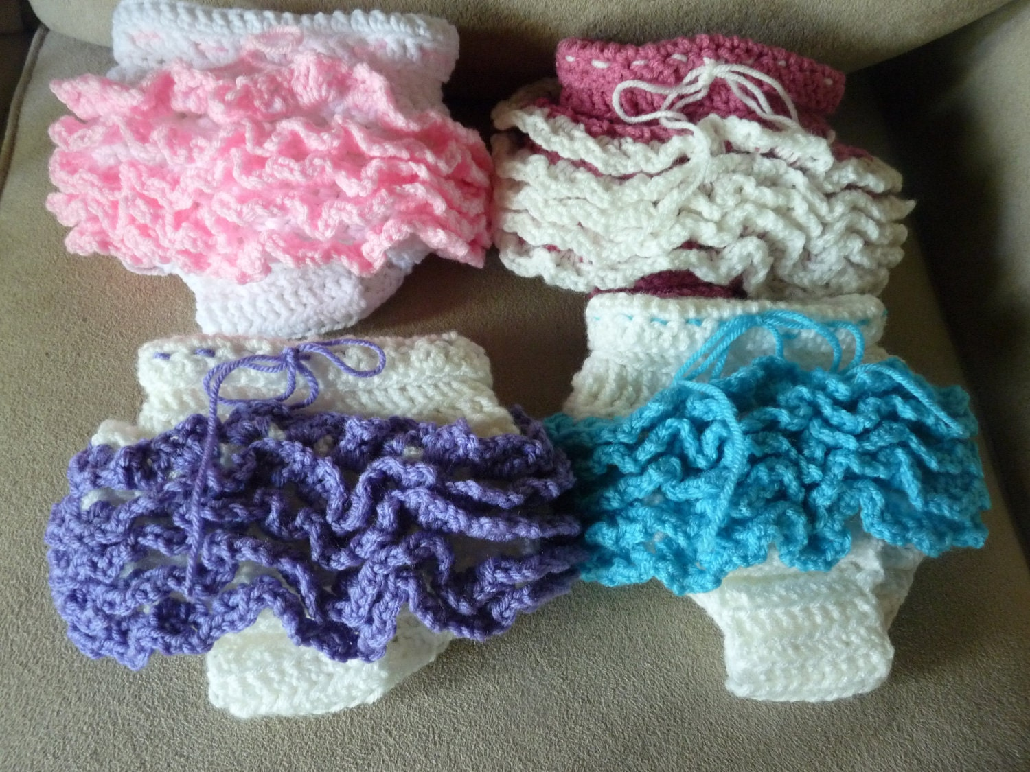 Free Crochet Pattern Diaper Cover With Ruffles : Items similar to Ruffle Crochet Diaper Cover on Etsy