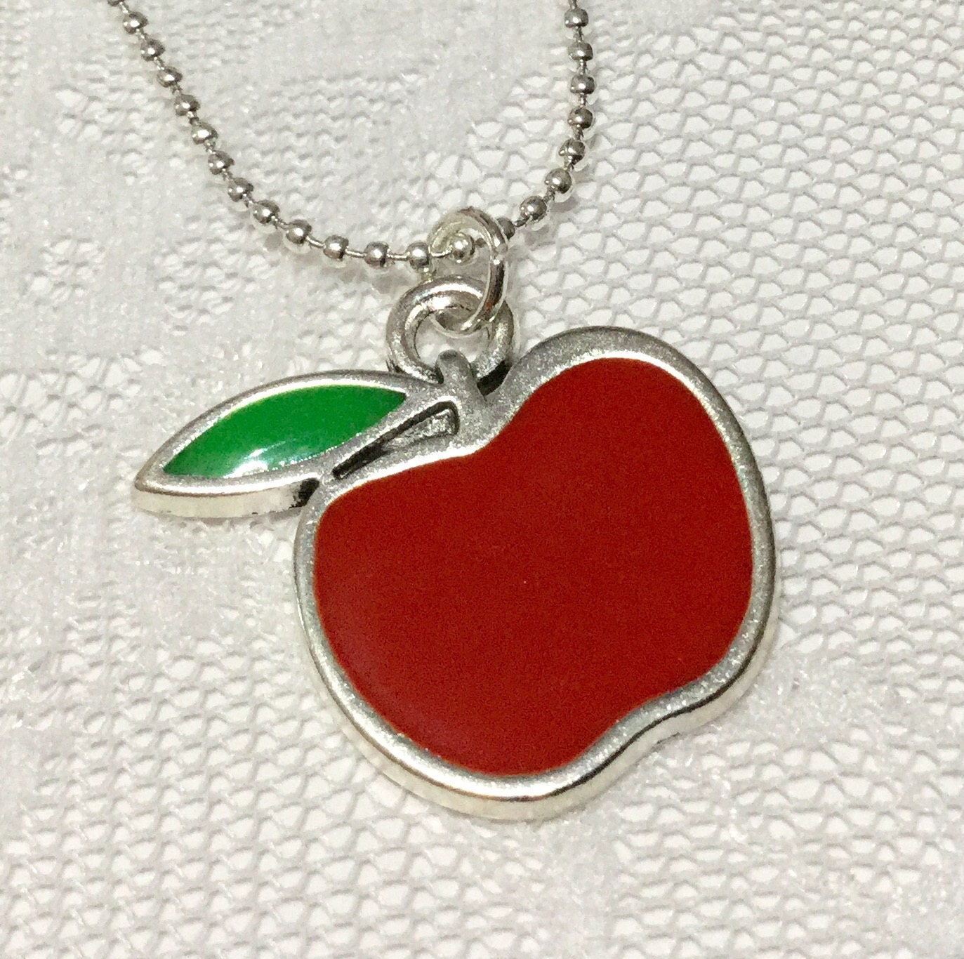 THANK YOU TEACHER Necklace Gift  red and green enamel silver apple charm on silver chain