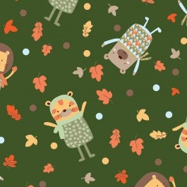 Fabric for quilt or craft Woodland Adventure Camelot Cotton Playing in Leaves in Green half yard - fivemonkeyfabrics