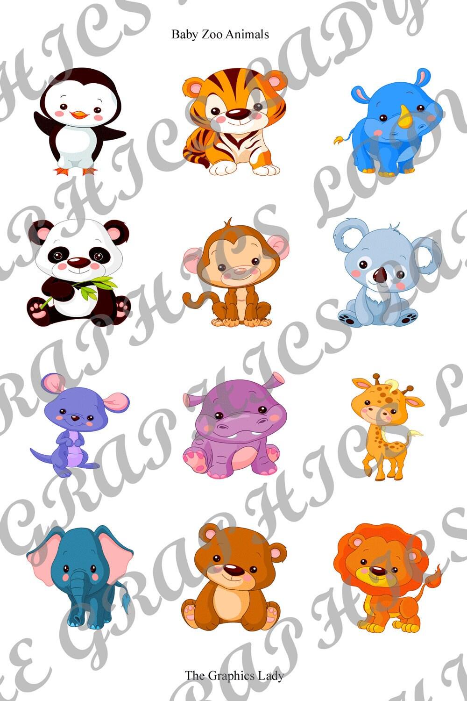 Baby Zoo Animals Clip Art Baby zoo animals 1x1 square