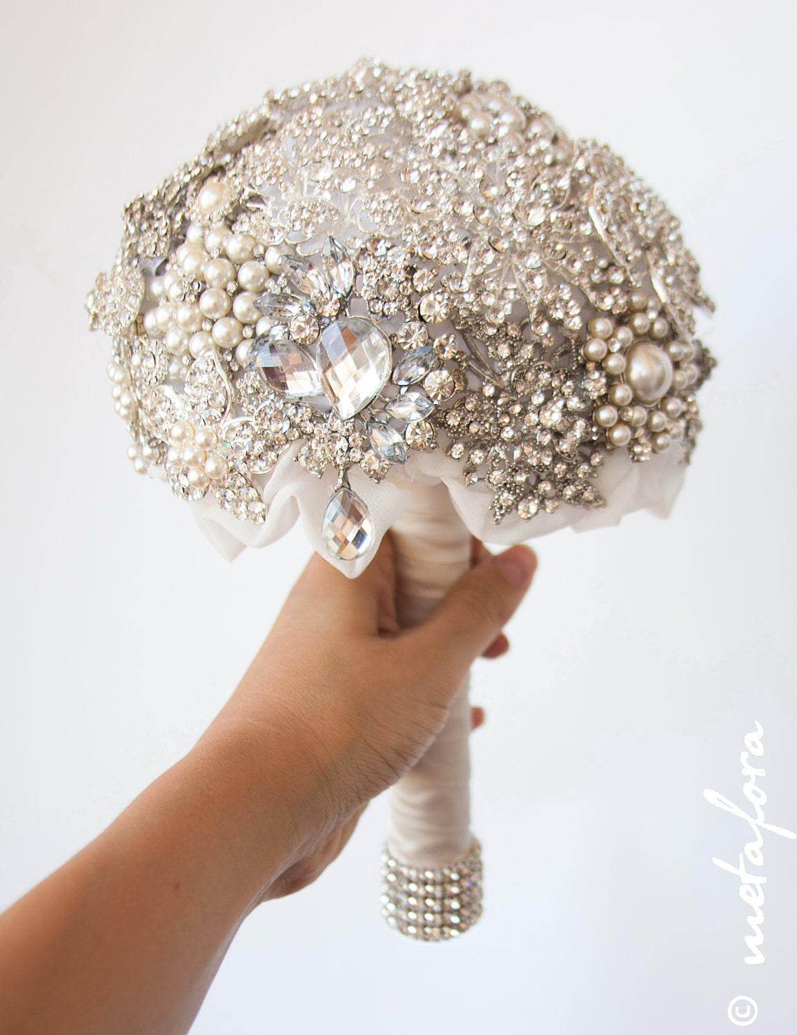 Wedding Brooch Bouquet Nz : Diamante brooch bouquet bridal wedding by feltdaisy