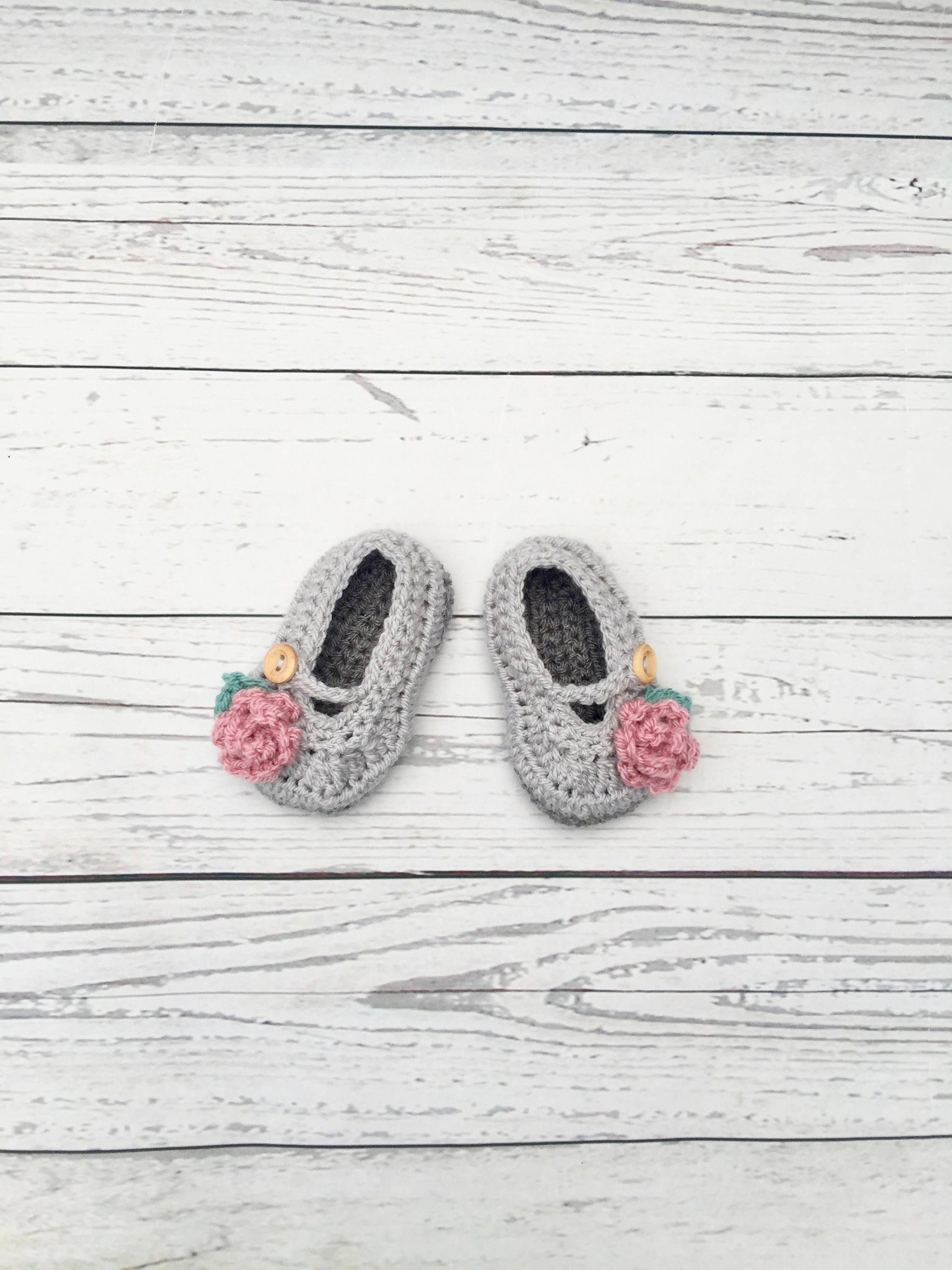 crochet baby girl shoes grey pink shoes newborn crochet infant shoes christening shoes soft sole shoes