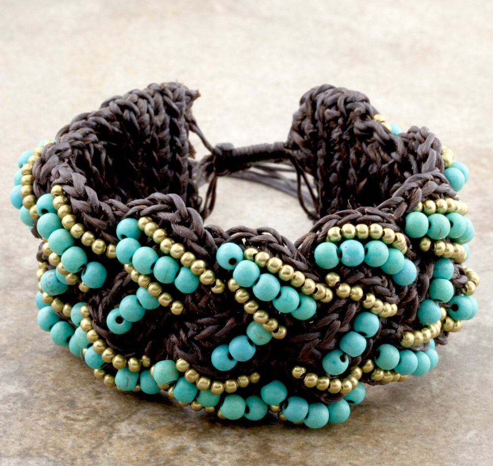 Cotton Waxed Thread Bracelet Beaded With Turquoise and Brass Beads