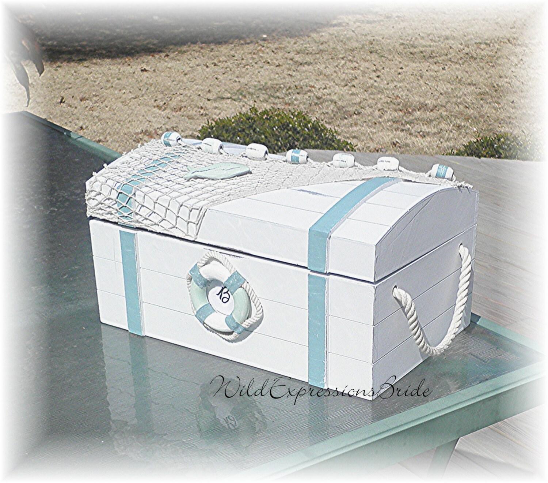 Treasure Chest Wedding Gift Card Box : BEACH Wedding Card Box Cottage Chic Wood Netting Shells Treasure Chest ...