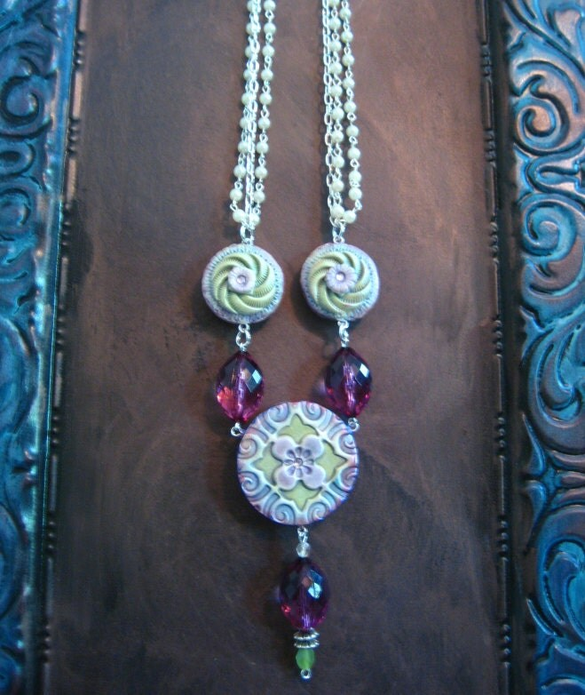 Double Sided Polymer Flower and Pearl Necklace with Faceted Purple Beads on Silver