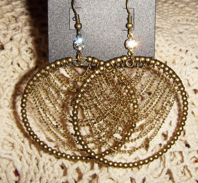 vintage lacy earrings - chains bronze large hoop beaded dangle earrings earthy oversize gold boho chic funky - LaceFancy