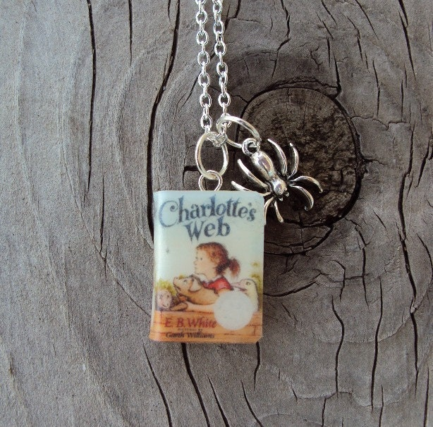 CharlottesWeb Necklace with Book Charm and Metal Spider Charm