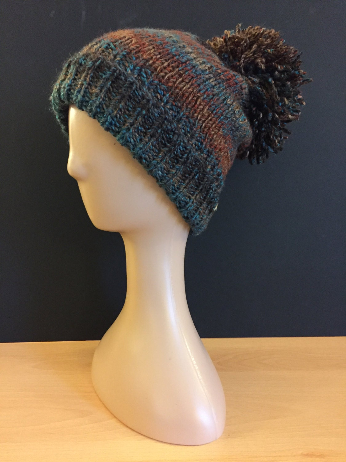 Hand Knitted bobble hat  russet redtealbrown (pheasant)