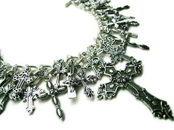 Gothic Cross Charm Bracelet - CROSSED OVER - VERY Limited Edition - Last One