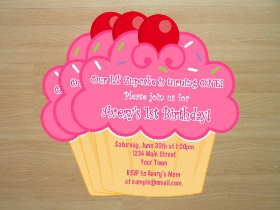 DIY Cupcake Birthday Invitations Digital File by ...