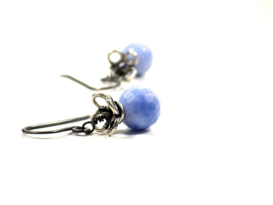 Gemstone Beaded Earrings / Artisan Boutique Jewelry / Cornflower Blue / Urban Chic /  WINSOME - Surori