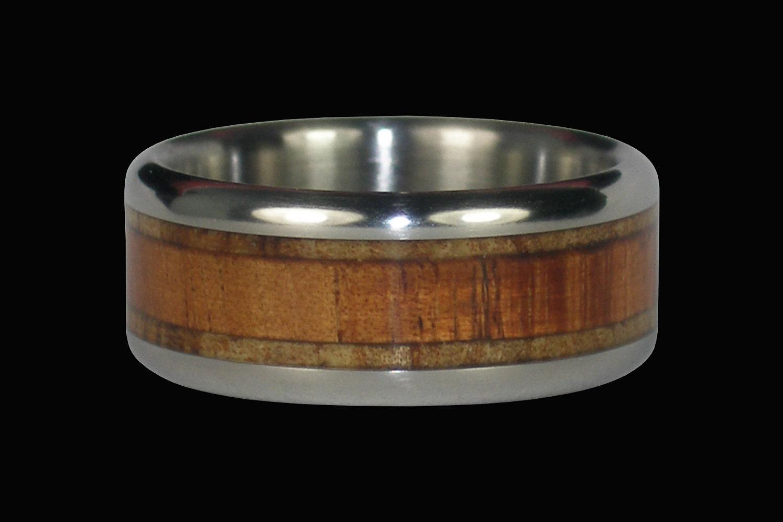 Mango and Koa Wood Titanium Ring by Hawaii Titanium Rings