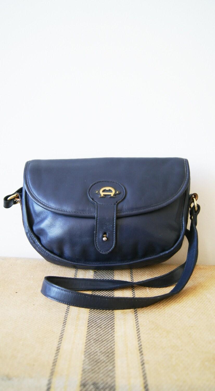 Vintage Aigner Bag. Navy Blue Cross Body Purse. 70s Leather Handbag.