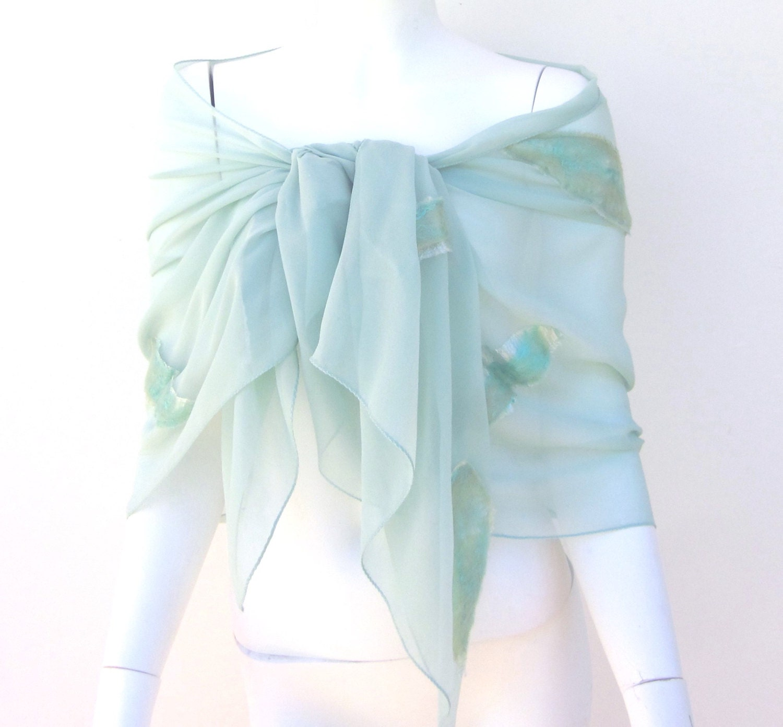 Sale Nuno Felt Aqua Silk Georgette Wrap Sarong - juliaheartfelt