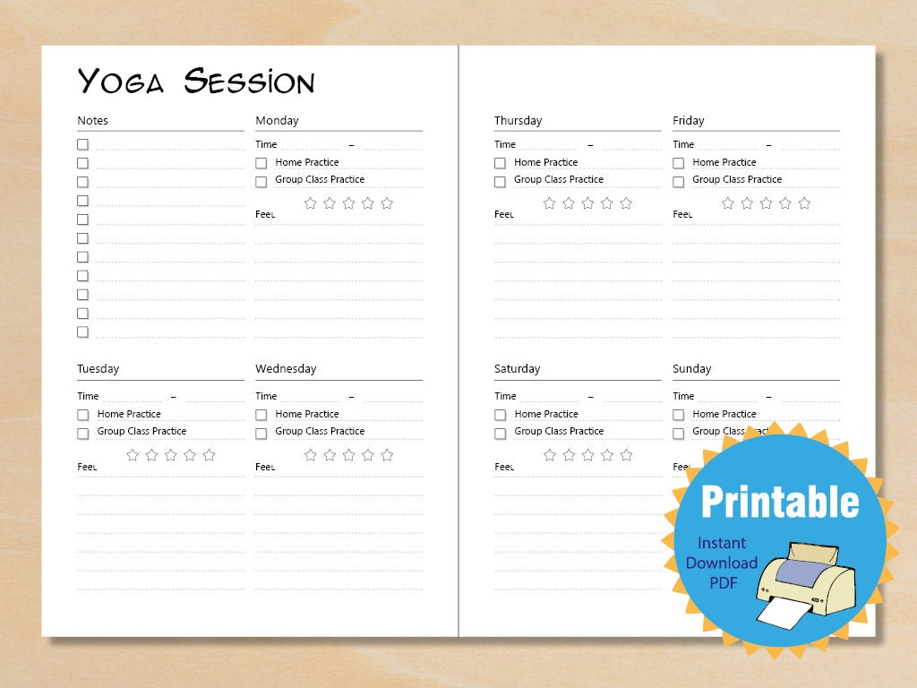 Weekly planner yoga Weekly Plan Instant Download Daily