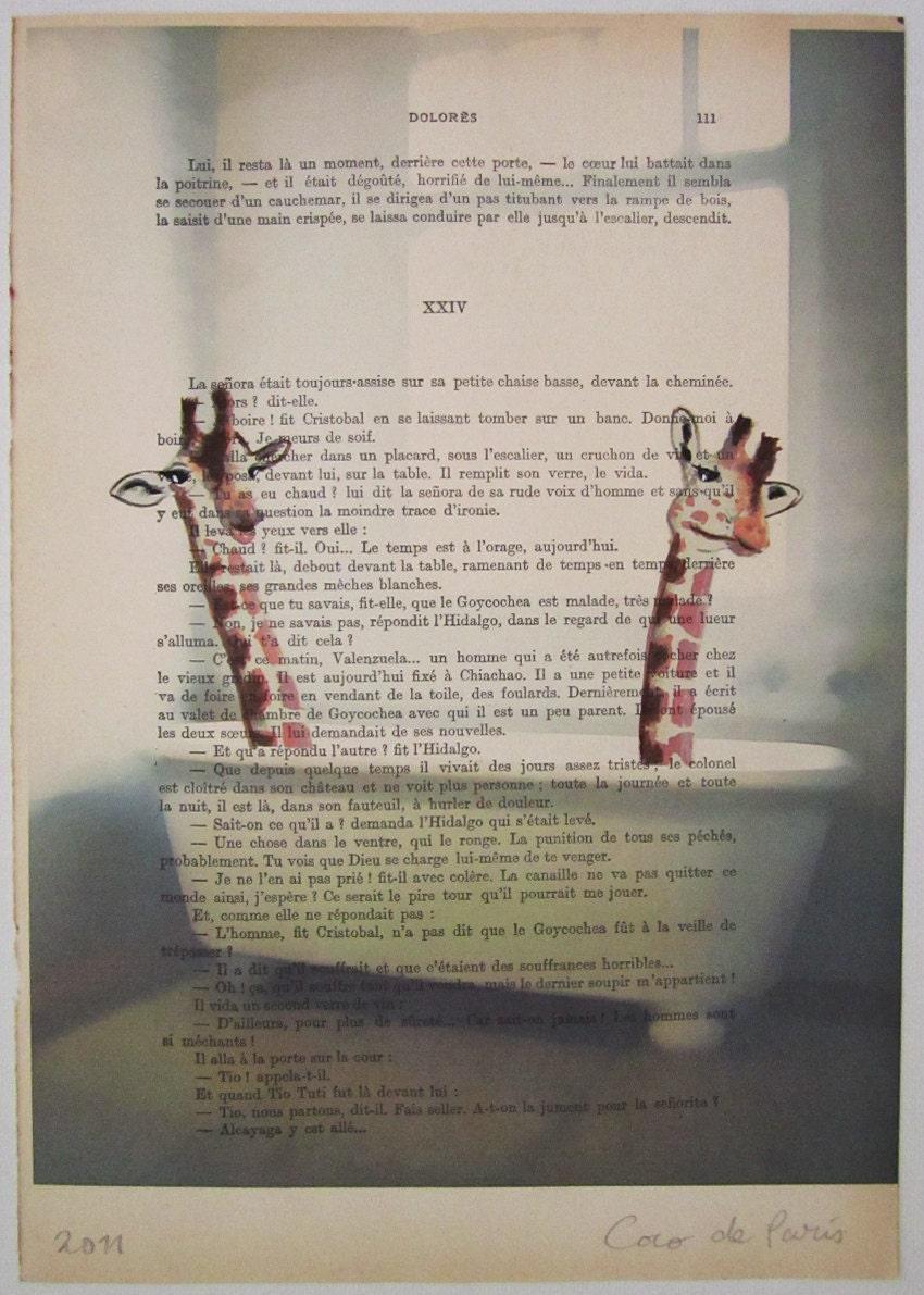"""2 жирафов принимая ванну, оригинальные произведения искусства ручной росписью Смещаная 'La Petit Иллюстрация """"1920 известный журнал Parisien"""