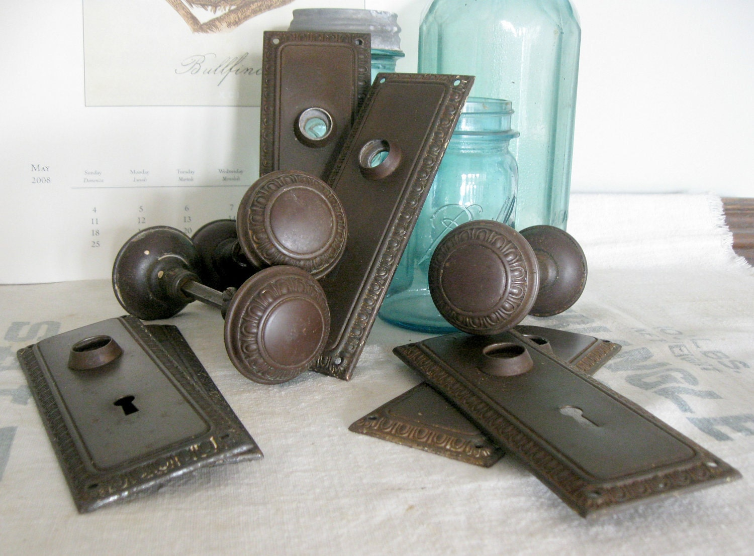 Antique Door Knobs And Backplates Six Of Each By