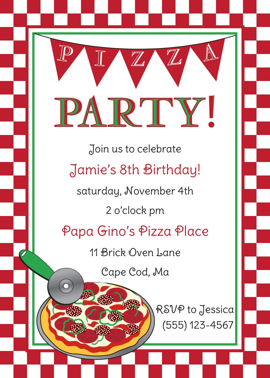Pizza party invitation template pizza party birthday invitation by anchorbluedesign on etsy stopboris Images
