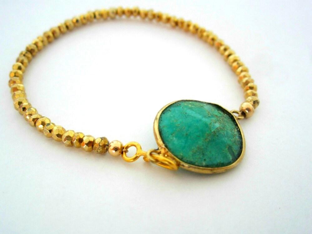 Chrysoprase Gemstone Bracelet, Gold Bead Bracelet  Green Stone Bracelet - sheriberyl